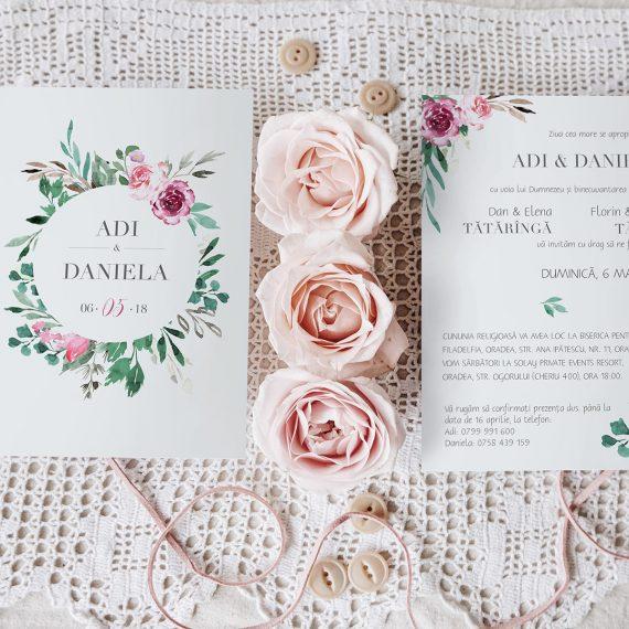Invitatie de nunta Flower Wreath